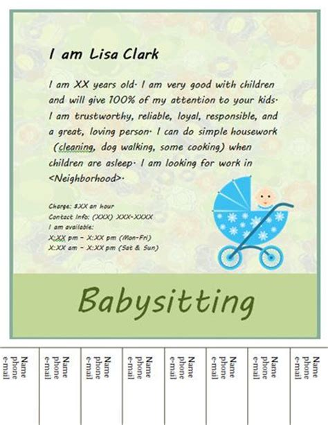 tear business card template babysitting flyer template on babysitting