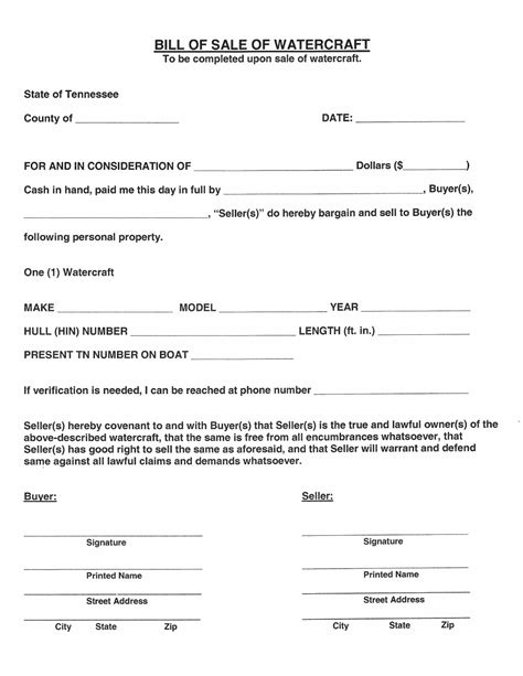 printable tennessee vehicle bill of sale free tennessee watercraft bill of sale form download pdf