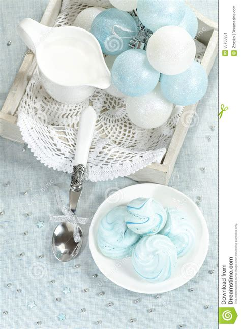 Handmade New Year Decorations - decorations azure meringue cookies and