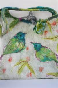 Hanging Flower Bags - felted purse bag wet felt technique cream bird by froufroufelt