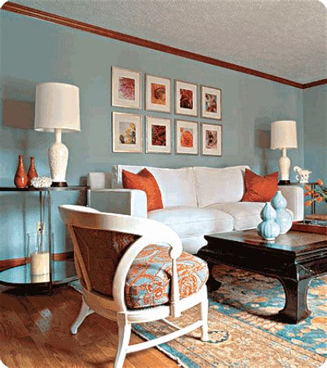 Blue Living Room Orange Accents Color Spotlight Orange With Blue Centsational