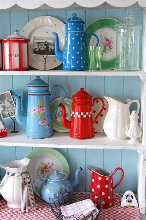 red and blue home decor retro kitchen decor accessories vintage kitchen red blue