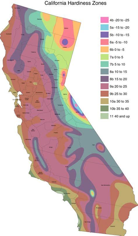 garden zone map california usda hardiness zones california