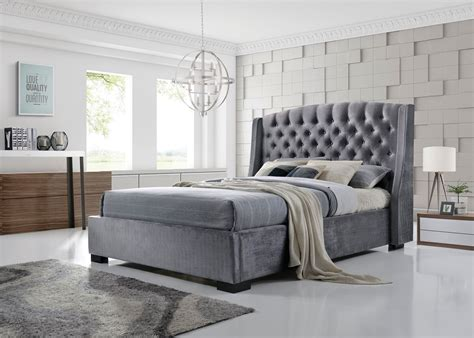 Grey King Bed Frame by Brando Wing Back Chesterfield King Size Bed Frame 5ft