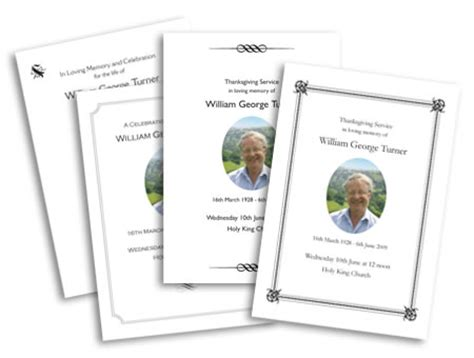 template for order of service funeral stationery