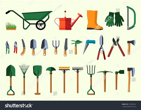 set various gardening items garden tools stock vector