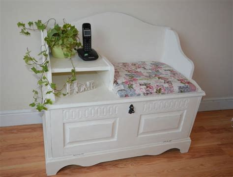 beautiful shabby chic painted hall telephone table seat cupboard shoe storage telephone table