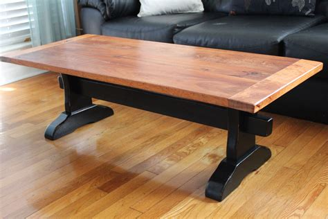 white trestle table with mahogany top diy projects