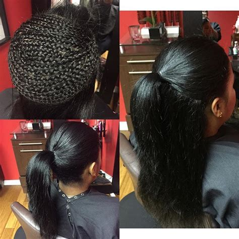 what hair good for sew in ponytail hairstylist nycsalon hairstyles sewinweave on instagram