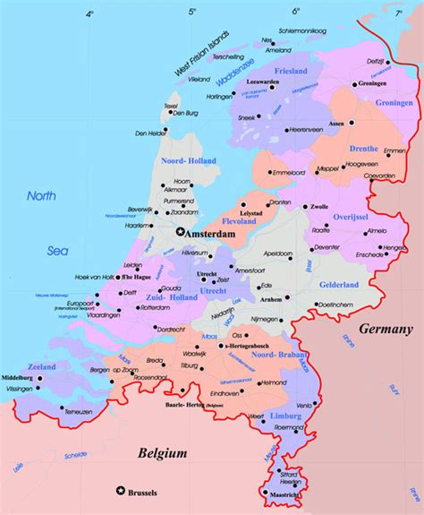 netherlands large map large administrative map of netherlands with major cities