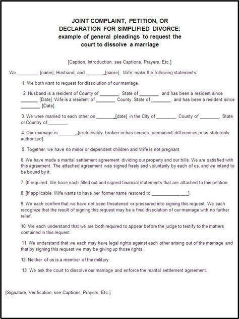 sle of divorce papers divorce forms free word templates divorce papers real state