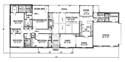 Four Bedroom Floor Plans Single Story by One Story 4 Bedroom House Plans Intended For The House
