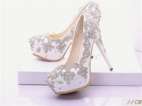 white silver rhinestone wedding prom shoes 2592399 weddbook