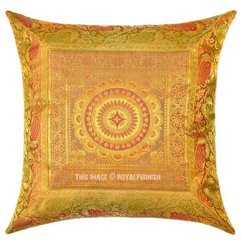 Silk Decorative Pillows Yellow Flower Medallion Circle Outdoor Decorative Silk