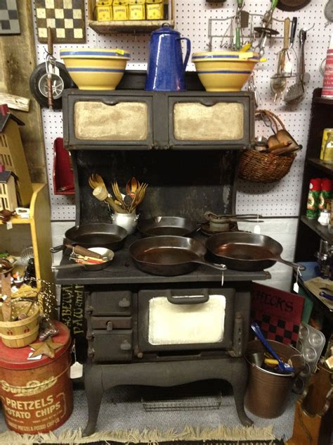 antique cast iron woodburning cook stove by lcbabies on