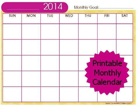 free monthly calendar template 2014 free stuff 2014 printable monthly calendar carrie with