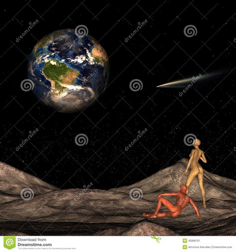 What Are Searching For On The Aliens On The Moon Looking At Earth Stock Illustration Image 45996701