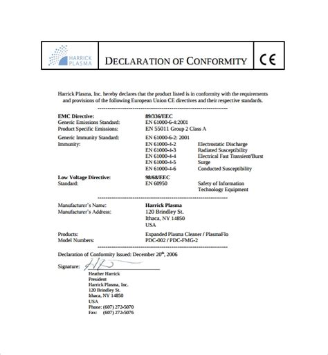 Certificate Of Conformity Template