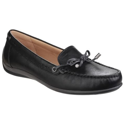 Comfort Loafers by Geox Yuki Leather Comfort Loafers Black Shuperb