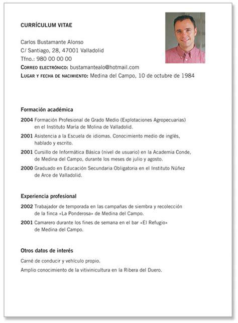 Plantilla De Curriculum Vitae Sencilla Modelo De Curr 237 Culo Pronto De Modelos De