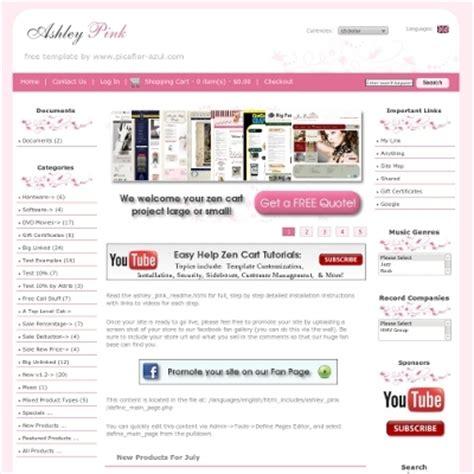 free templates for zen cart ashley pink zen cart templates it s free zen