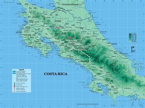 detailed road map of costa rica costa rica physik karte