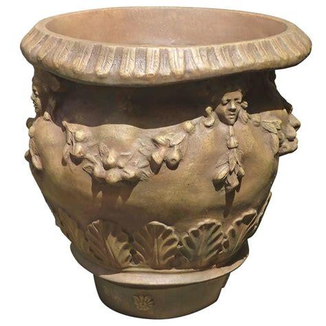 Urn Style Planter by Faux Terracotta Della Robbia Style Fiberglass Urn Planter