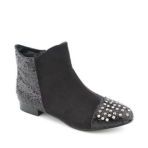 Winky Black Shoes bamboo winky 01 womens low heel western ankle boot
