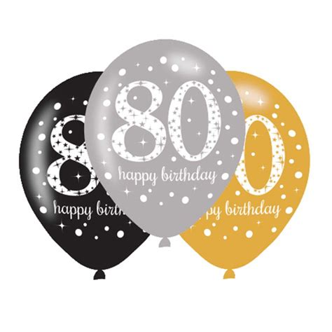 6 x 80th birthday balloons black silver gold party