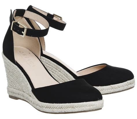 Promo Wedges No1 Terjangkau office marsha closed toe espadrille wedges black mid heels