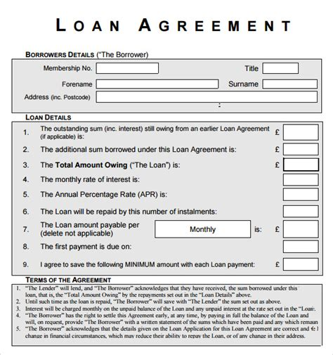 loan document template free printable business loan agreement and form template