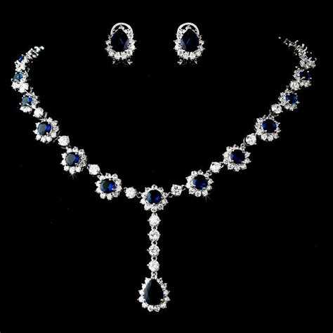navy blue sapphire rhinestone necklace and earring wedding
