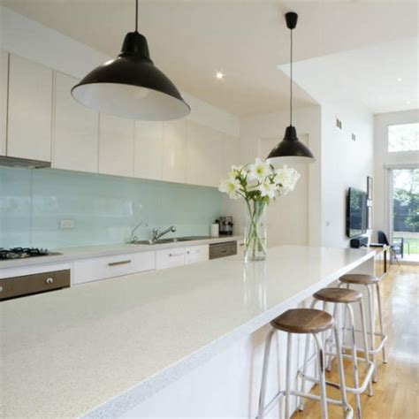 White Glass Tile Backsplash Kitchen creating a kitchen feature wall or splashback with glass tiles