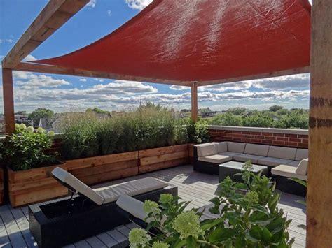 Roof Deck Pergola Shade Sail Urban Landscape Garden Design Pergola Shade Sails