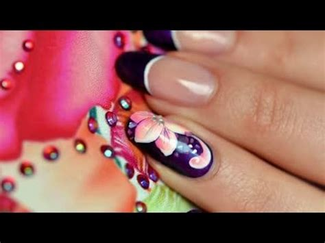 russian nail art tutorial nail art one stroke russian flowers youtube