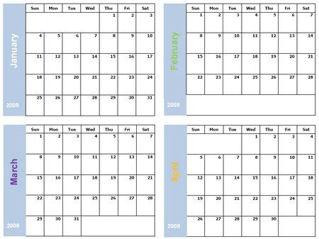 4 month calendar template 2015 6 best images of printable 2016 calendar 4 month per page