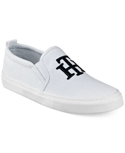 hilfiger white sneakers hilfiger lucey 2 slip on logo sneakers in white lyst