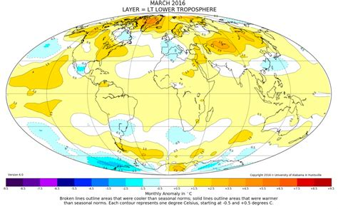 us weather map march 2016 global temperature warmest march reporting climate science