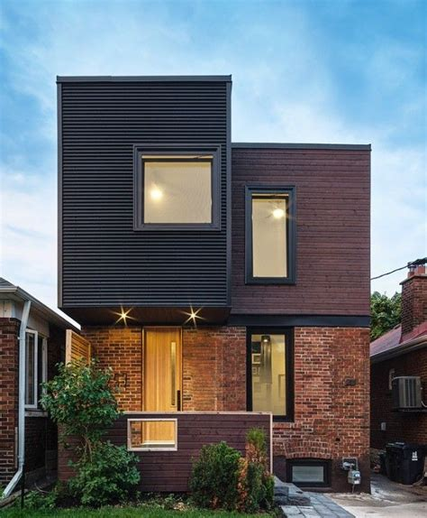 textured front facade modern box home corrugated metal siding with brick google search home