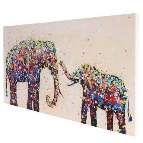 cuadros elefantes cuadro elefantes confeti 60x120x3 5 cm pintado a mano al