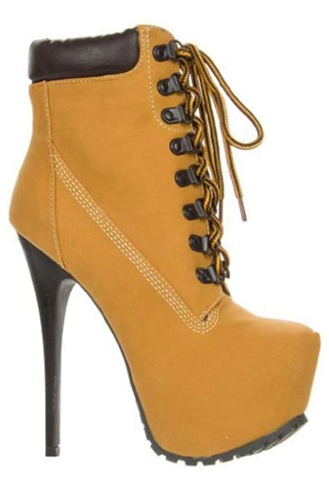 timberland high heel boots high heel timberland style lace up boots umbrella club la