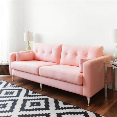 pink couch ikea karlstad sofa ikea hack mid century inspired pink sofa