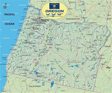 oregon usa map map of oregon state section in united states usa