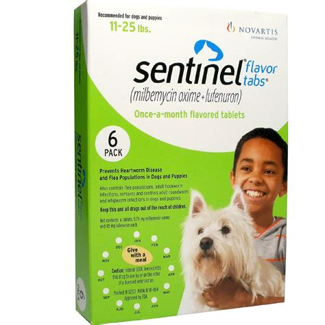 sentinel for dogs sentinel flavor tabs for dogs 11 25 lbs 6 flavor tabs