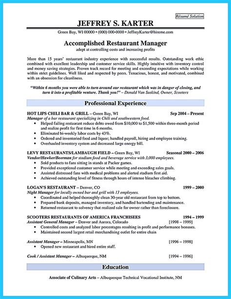 Restaurant Manager Resume Exles Sles Brilliant Bar Manager Resume Tips To Grab The Bar Manager