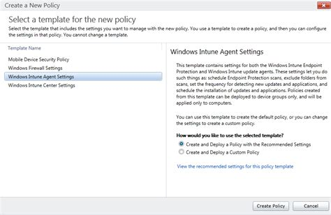 Gerry Hson Device Management Windows Intune Step By Step Guide Part 4 Policies Create Policy Template