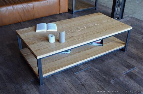 Supérieur Table Basse Contemporaine Design #1: 243table-basse-2-plateaux-chene-massif-acier.JPG