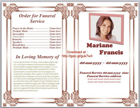 free memorial template search results for sle obituary for funeral program