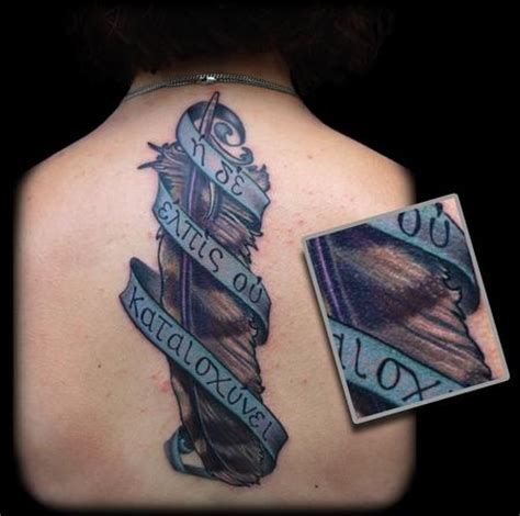 owl feather tattoo color owl feather and banner by maximilian