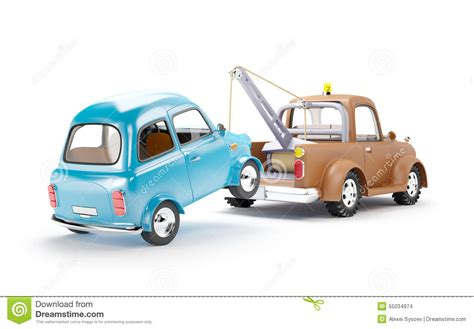 cartoon car back tow truck and car back view stock illustration